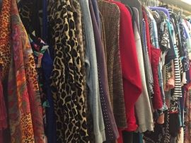 two walk in closets of larger size women's clothing including evening ware, jackets, tops, swim wear etc (many still with tags)