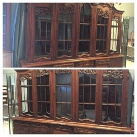 Two eight foot long and eight foot tall very fine five door china cabinets
