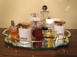 Assorted perfumes.