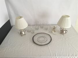 2 Silver Based Lamps, Crystal Glasses  https://www.ctbids.com/#!/description/share/7714