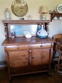 Antique Sideboard Buffet w/ Original Beveled Glass Mirror - Gorgeous!