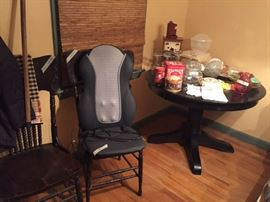 Antique chairs, table, glassware collectables, and electric massage chair