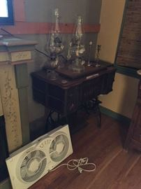 hurricane lamps, window fan, White antique sewing machine (non working)