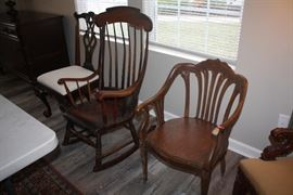 Henredon Chair, Antique Rocker and Antique Curved Back Chair
