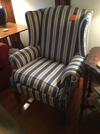 Wing back chair with blue/ red / white stripes