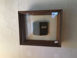 Shadow box with old small bible