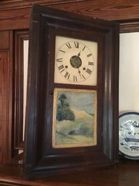 Early American mantel clock with reverse painting