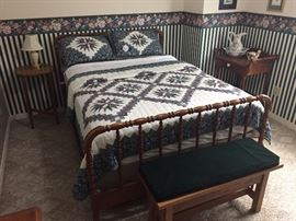 Full size antique bed, shaving stand, bench with storage