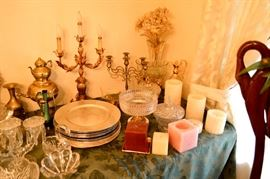 Candles, candlesticks, chargers candelabras