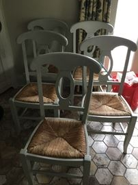 5 painted wicker bottom chairs $40 each