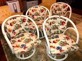 Four vintage swivel chairs with big 'ol round shabby chic table to go with it - we will set it up for you to see!