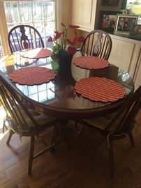 Wood Dinette with leaf/ 4 chairs/ glass top