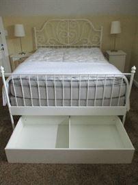 WHITE METAL BED, SLEEP NUMBER MATTRESS, UNDER BED STORAGE