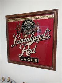Leinenkugel's Red glass framed sign