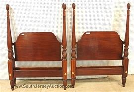 "Super Clean PAIR of SOLID Mahogany 4 Poster Twin Beds  by ""Councill Craftsman Furniture"""