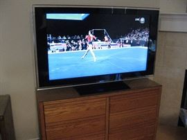 "52"" Sony Flat Screen Bravia, Sitting on a Six Drawer Oak Chest..."