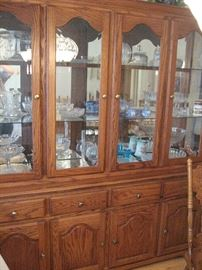 "Lighted Oak  China Cabinet (74"") lots of Beautiful Glass Ware..."