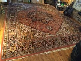 #32	machine rug 10x13 rug & cream 	 $175.00