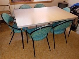 Retro formica table and teal chairs! (made by Virtue Brothers of California)