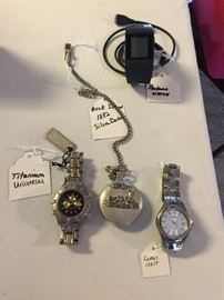 MENS WATCHES, ONE IS THE AMERICAN HISTORIC SOCIETY POCKET WATCH 1882 SILVER DOLLAR ON THE BACK BY ROCK ISLAND