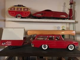 Piles of vintage camper toys including many boxed and rare items