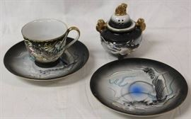 Dragonware Censer, Tea Cup, and 2 Saucers. Lady IN ...