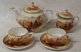 Gorgeous Rokko Hand Painted Tea Set for Two!