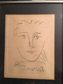 Panel Picasso Etching...Still in the original frame with narrative!