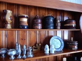 STERLING SERVING WARE & TURNED WOODED BOWLS & BOXES