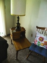 Matching wood night stands  Large lamp Accent chair
