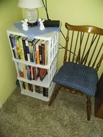 Small lamp  Plastic shelf  Accent chair