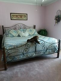 King size bed frame and linens