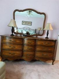 Vintage dresser , mirror, lamps