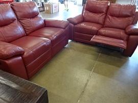 Beautiful Red Reclining Sofa/Love