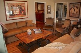 Living Room Furnishings - Sofas, Side Chairs and Wood & Metal Coffee Table with Lots of Art