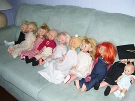 Collection of vintage Whimsie dolls