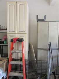 4 door storage cabinet, ladder, small dog pen