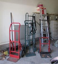 Assortment of hand trucks.