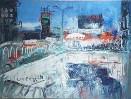 Lot #3 Fengzhi Liu Cityscape Painting with a Starting Bid $4,000