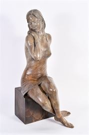 "Lot #10 Rodd Ambroson Bronze Sculpture titled ""Serenity"" with a Starting Bid of $1,000"