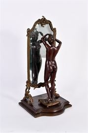 Lot #12 Emile Pinedo Bronze Sculpture of a Nude Looking in the Mirror with a Starting Bid of $1,000