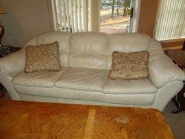 nice leather cream sofa