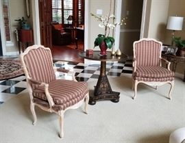 Custom upholstered French Procincial Arm Chairs