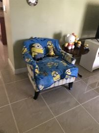 Occasional chair with diamond blue gold and cream .  Again I can get a better picture.