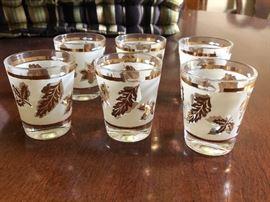 MCM shot glasses 24kt gold rim