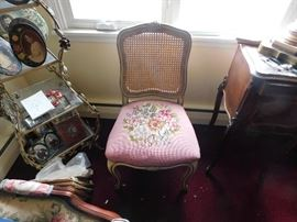 pink embroidered lattice back chair
