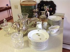 Denmark china waterford, bisquit jar, tole / toile painted tray, silver plate pitchers, vintage picnic basket