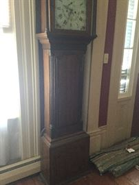 Antique Great Grandfather Clock made 1780's to 1820's  by R.GRIFFITH .CA.   Made in Denbigh, Wales Great Britain , it is an eight day clock   It strikes the hour on a cup bell.