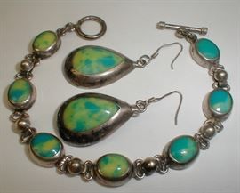 Mexican sterling bracelet and earring set