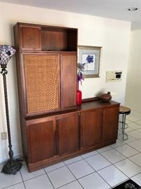 """Vintage Founders Credenza with Hutch. Nice sleek design with plenty of storage and bi folding doors in the front. Excellent condition excellent finish with very minor signs of use.  OVERALL TOTAL MEASUREMENTS APPROX 67-1/8"""" WIDE x 18"""" DEEP x 80"""" TALL CREDENZA MEASURES: 67-1/8"""" WIDE x 18"""" DEEP x 32"""" TALL TOP HUTCH MEASURES: 33-1/2"""" WIDE x 13"""" DEEP x 48"""" TALL   $1900"""